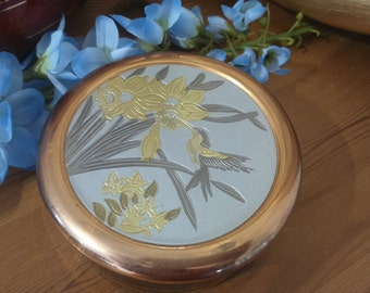 Japanese 24Kt Gold & Silver Trinket Pot/Jewellery Storage/Bedroom/Decorative Collectible/Asian
