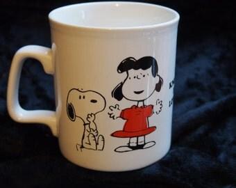 "Vintage Peanuts Mug - ""To Know Me Is To Love Me"""