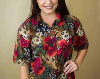 90s Jungle Print Floral Blouse