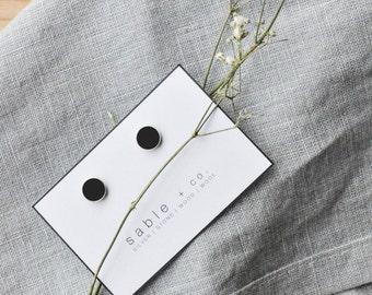 Onyx Earrings    simple circle minimal earrings, handmade minimalist jewelry, circle stud earrings, gift for her
