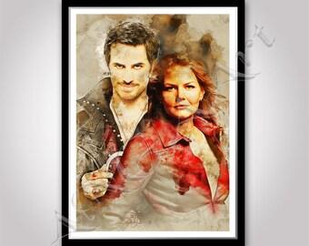Once Upon a Time Emma Swan and Captain Hook poster Instant Download Jennifer Morrison Colin O'Donoghue Once upon a time print Digital poster