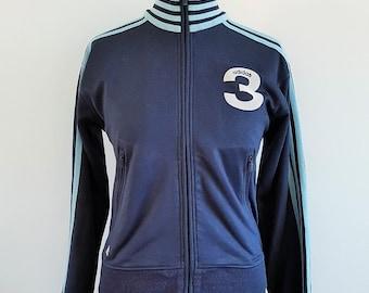 SALE | Retro Adidas 3 stripe zip-up tracksuit jacket | Dark/Light Blue | UK Size 32/34
