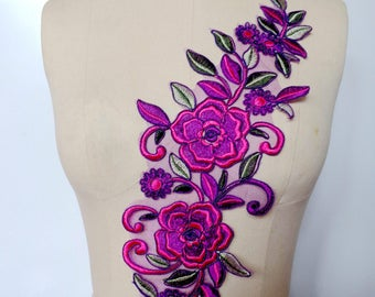 sew on multicolored lace applique trim rose red/purple/green Water - soluble embroidery lace 42*14cm for dress skirt