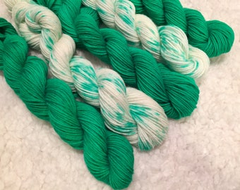 Hand dyed yarn Mini skeins total of 5
