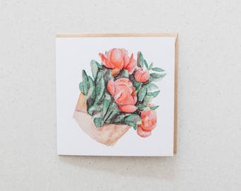 Peonies - blank watercolour greeting card - recycled, 125mm square - with kraft envelope