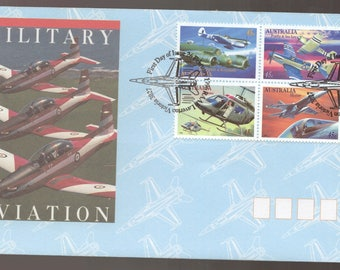 Australian Military Aviation Aircraft FDC First Day Cover- Bell Kiowa Helicopter, McDonnell Douglas Hornet, Kittyhawk, Firefly Stamps