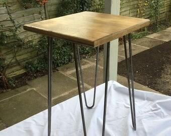 Side/Lamp Table Vintage Industrial Shabby Reclaimed Rustic Oak Hairpin Legs