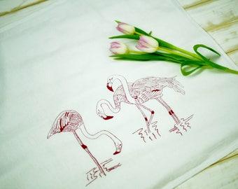100% cotton table napkins.Cloth Napkins.Eco Friendly Dinner Napkins.Set 4 Cotton Cloth Napkins. Screen Printed Napkins. Flamingos napkins.
