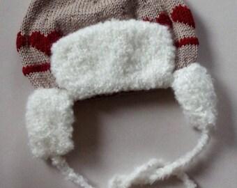 Chapka Bonnet beige wool, baby hat,  layette, baby linen, child, hand-knitted, Bébé Nuage (Baby Cloud)