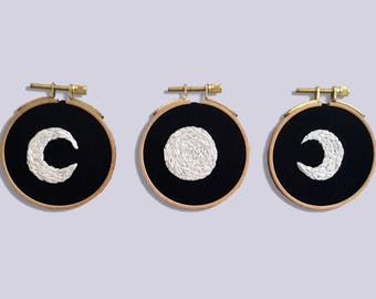 phases of the Moon, batch embroidery