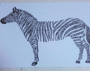 A4 Art Print - Henna Mehndi Art - Zebra - Zebras - Zentangle - Mandala