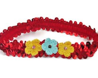 Headband/Girls Red Sequined Headband with Yellow & Blue Flowers/Crocheted Flowers/Pink Rhinestone/Blue Rhinestone