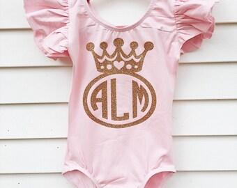 Monogram Leotard - toddler leotard - girls leotard - dance leotard - gymnastics leotard - personalized leotard - custom leotard - princess