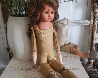 Shabby Chic antique leather body doll wig movable eyes Nordic Jeanne D ' arc living