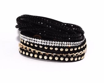 Different colors: Bracelet / multi-strand leather cuff Ë rhinestone chain & Clips system