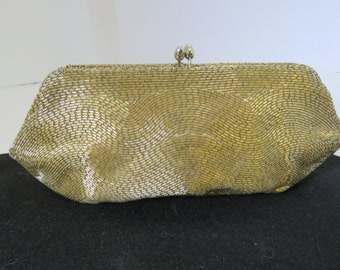 Beautiful Vintage Gold Glass Beaded Clutch/ Evening Bag! Magid- Japan- Gold Shiny Glass Beads, Done in a Wave Design- Kiss Closure