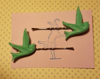 Handmade turquoise bird bobby pins - set of two 23mm turquoise bird bobby pin hairclips