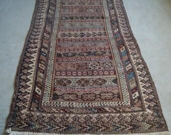 4'6''x8'9'' Shahsavan Soumak, Persian Kilim Rug