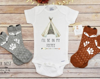 Newborn Boy Coming Home Outfit, Baby Boy Outfit, Boho Baby Clothes, I'll Be In My Teepee