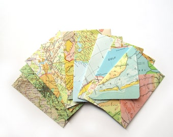 Set of 18 world map envelopes (Suitable for A7 cards)