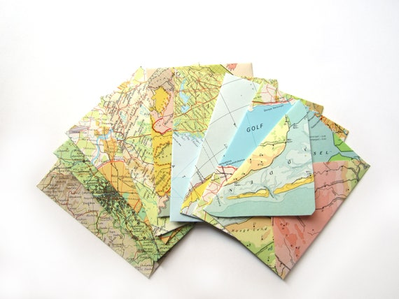Set of 16 world map envelopes (Suitable for A7 cards)