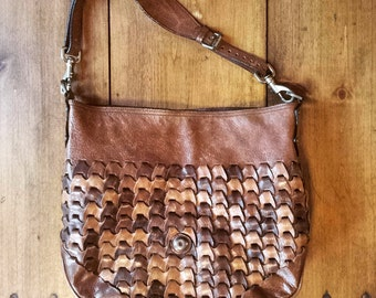 1990's Mulberry 'Jemma Rio' woven leather shoulder bag - light and dark brown