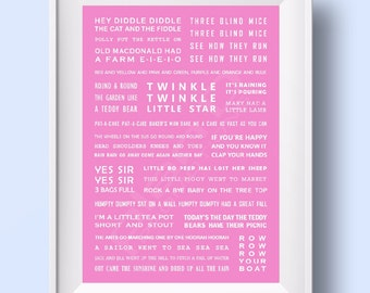 Nursery Rhymes Print for girls / newborns / babies. PINK A4