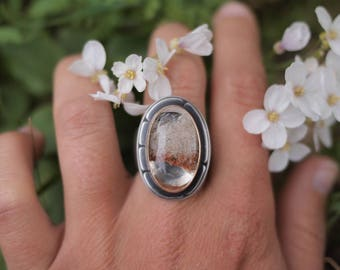 Size 9 - Golden Hour Ring - Lodolite - Garden Quartz