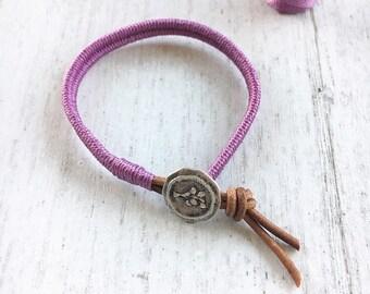 Womens Leather  Wrap Bracelet in purple- boho wrap bracelet, wrap bracelet, womens bracelet, stackable bracelet, boho bracelets