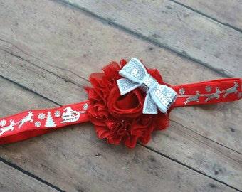 Christmas reindeer baby headband - Christmas girl headband - baby Christmas gift - red and silver reindeer headband - baby shower gift