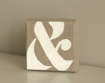 Ampersand (&) Sign White on Tan Beige Canvas
