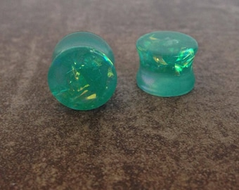 "ear plugs 14 mm spacers: 9/16 ""iridescent turquoise resin"