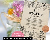 Welcome Bag Note Wedding Welcome Bag Letter Wedding Itinerary Printable Agenda Welcome Note Instant Download Wedding Template PDF WB02