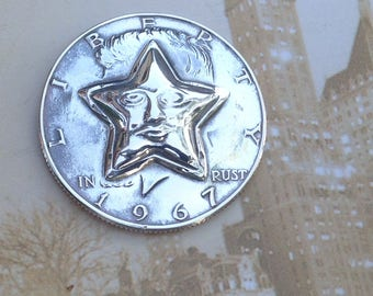 1964 to 1969 Kennedy Half Dollar Repousse Coin -- Star with Face