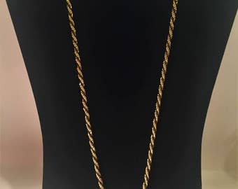 Vintage Trifari Black and Gold Rope Chain, Trifari Black and Gold Necklace, Vintage Necklace, Vintage Trifari Jewelry, Trifari, Necklaces