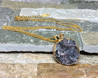 Druzy necklace agate grey black gold chain