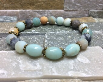Energy mala meditation bracelet in Amazonite