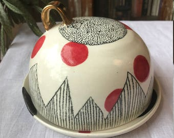 Cheese Plate, Cheese Server, Dome, Cover, Butter Dish, Black, White, Red, Gold Luster