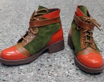 Lace front leather boots for women, Green and orange boots, low heel boots for everyday use, round toe boots
