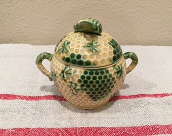Japanese Majolica Honeycomb, Clover and Bee Sugar Bowl
