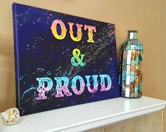 LGBT pride, LGBT art, Rainbow painting, Gay pride, Colorful painting, Pride painting, Rainbow space, Painting on canvas, Abstract artwork