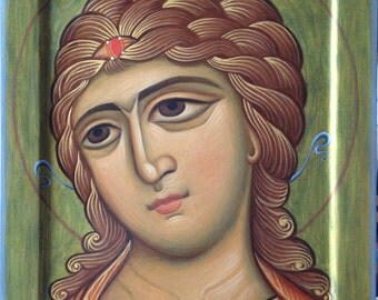 Archangel Gabriel, angel of the Golden hair, Orthodox icon, copy of the ancient Russian icons XII century. Egg tempera.