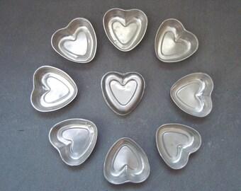 Vintage Midcentury Aluminum Heart Baking/Tart or Craft Molds (9)