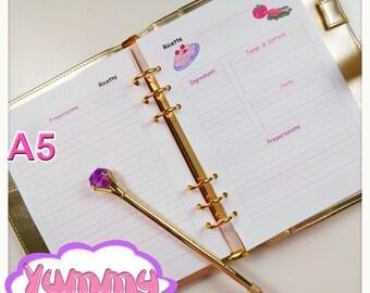 A5 Kawaii Recipes Planner Inserts