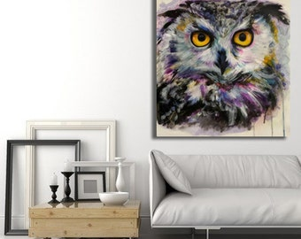 large multicolored OWL painting