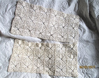 Vintage French Crochet, handmade crochet items, beige crochet, table covers, cotton lace items, antique crochet