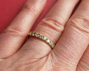 Wedding band yellow gold (18kt) diamonds-half eternity - light ring 18 ct