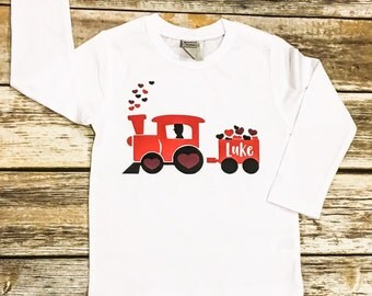 Boys Valentine Shirt | Valentine Shirt for Boys | Valentine Train Shirt | Baby Boy Valentine Shirt | Train Shirt
