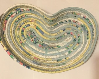 Handmade heart shaped coiled basket!