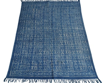 Indigo Rug Blue Natural Dyed Area Rug Hand Block Print Floor Rug